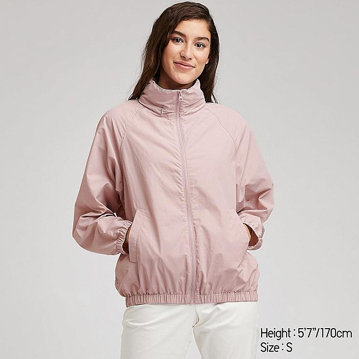 WOMEN STAND COLLAR BLOUSON, PINK, large