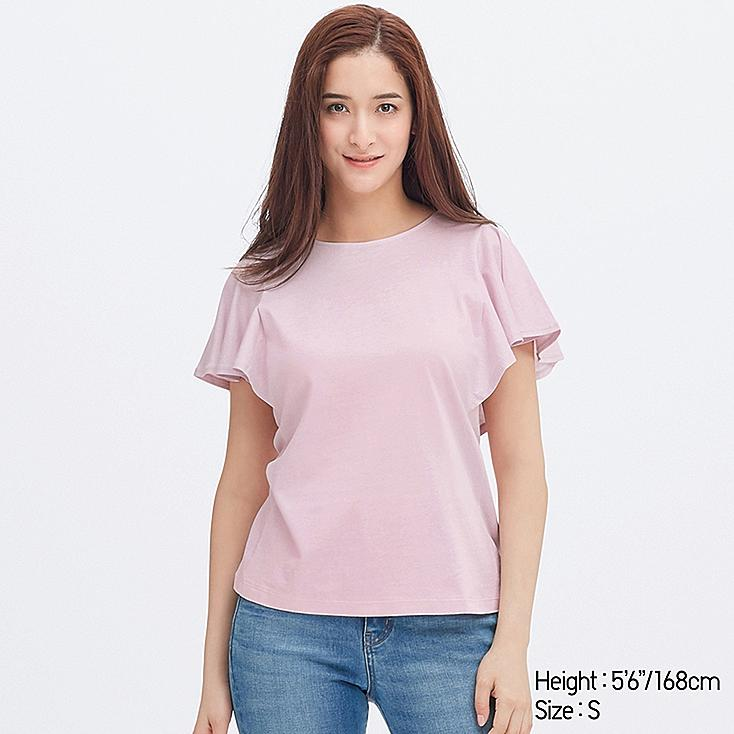 WOMEN RUFFLE SLEEVE SHORT-SLEEVE T-SHIRT, PINK, large