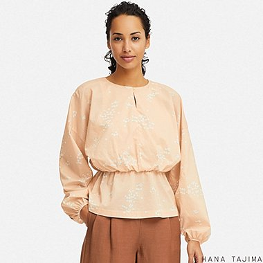 WOMEN GATHERED PRINTED LONG-SLEEVE BLOUSE (HANA TAJIMA), PINK, medium