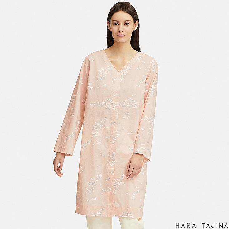 WOMEN V-NECK PRINTED LONG-SLEEVE TUNIC (HANA TAJIMA), PINK, large