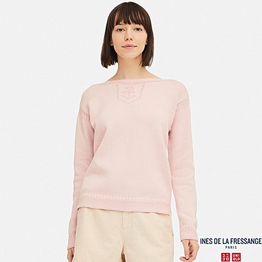 WOMEN FISHERMAN BOAT NECK SWEATER (INES DE LA FRESSANGE), PINK, medium