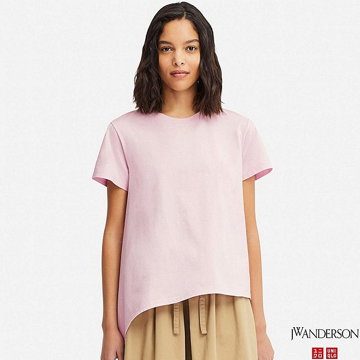 WOMEN MERCERIZED COTTON ASYMMETRIC SHORT-SLEEVE T-SHIRT (JW Anderson), PINK, large
