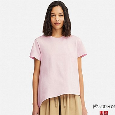 WOMEN MERCERIZED COTTON ASYMMETRIC SHORT-SLEEVE T-SHIRT (JW Anderson), PINK, medium