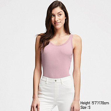 WOMEN COTTON POINTELLE LACE SLEEVELESS TOP, PINK, medium