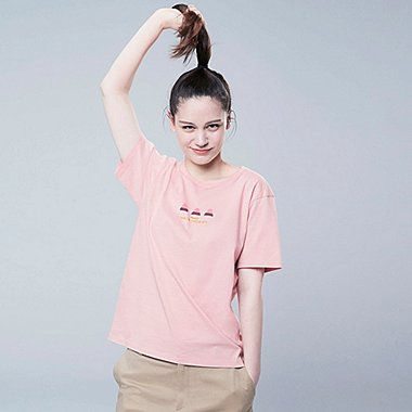 WOMEN THE BRANDS OKASHI SHORT-SLEEVE GRAPHIC T-SHIRT (MEIJI), PINK, medium