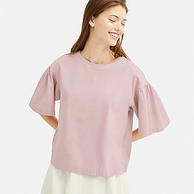 WOMEN MERCERIZED COTTON GATHERED HALF-SLEEVE T-SHIRT, PINK, medium
