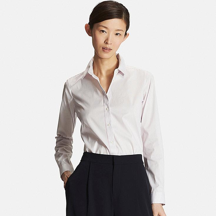 Women Supima® Cotton Stretch Patterned Dress Shirt, PINK, large