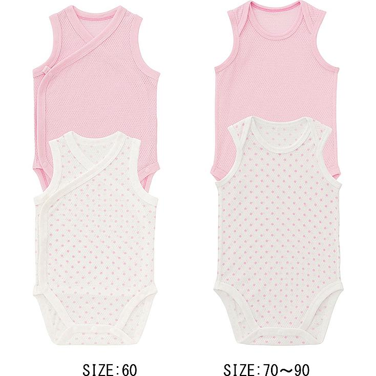 Baby Mesh Sleeveless Bodysuits, 2 Pack, PINK, large