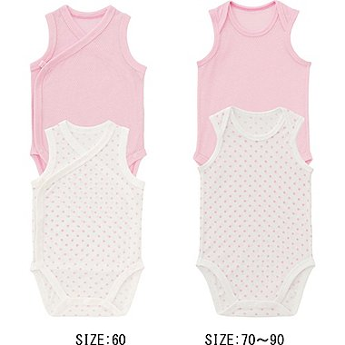 Baby Mesh Sleeveless Bodysuits, 2 Pack, PINK, medium