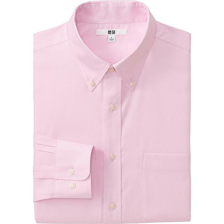 MEN EASY CARE OXFORD LONG SLEEVE SHIRT, PINK, large