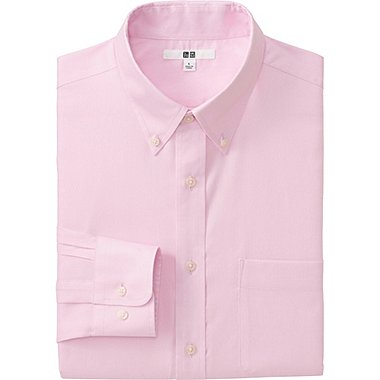 MEN EASY CARE OXFORD LONG SLEEVE SHIRT, PINK, medium