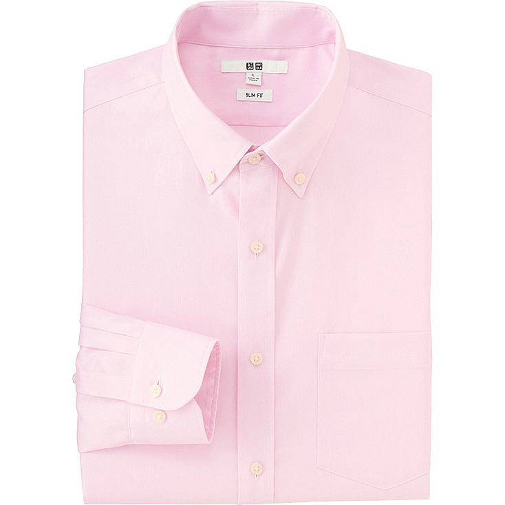 MEN EASY CARE SLIM FIT OXFORD LONG SLEEVE SHIRT, PINK, large