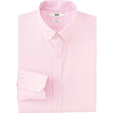 MEN EASY CARE SLIM FIT OXFORD LONG SLEEVE SHIRT, PINK, medium