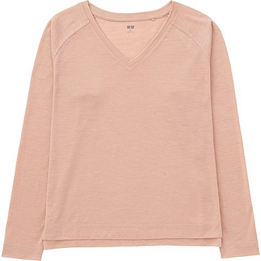 WOMEN Wool Blend V Neck Long Sleeve T