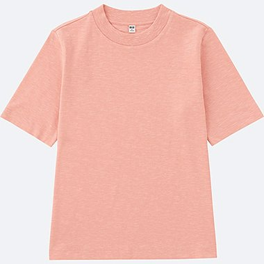 WOMEN Slub High Neck Short Sleeve T-Shirt
