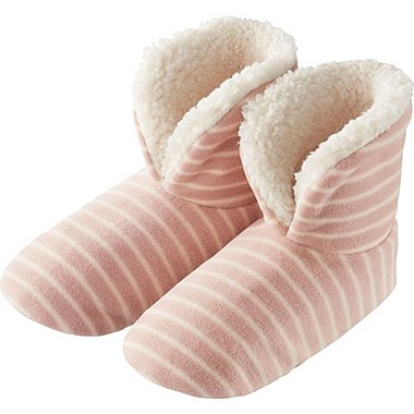 WOMEN FLEECE SHOES (STRIPE), PINK, medium