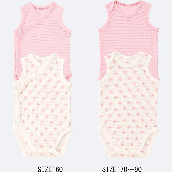 BABY COTTON MESH SLEEVELESS BODYSUIT 2-PACK, PINK, large