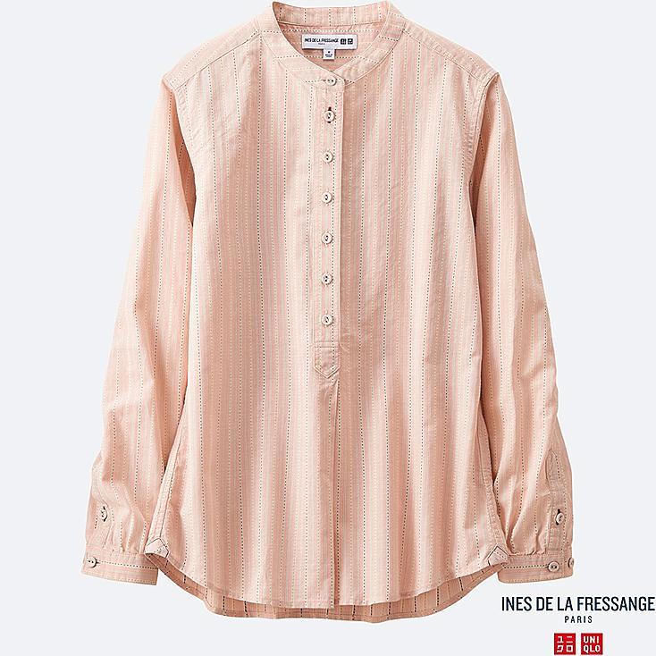 Women idlf cotton striped stand collar long sleeve shirt for Stand collar shirt womens