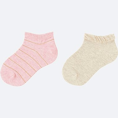 GIRLS SHORT SOCKS 2 PAIRS, PINK, medium