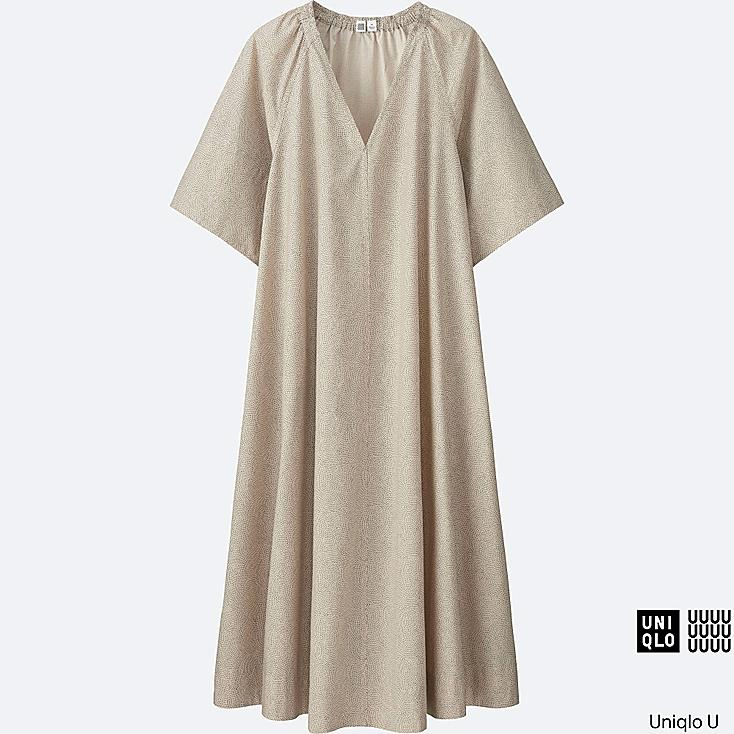 WOMEN Uniqlo U Oversized Cotton Printed Short Sleeve Dress