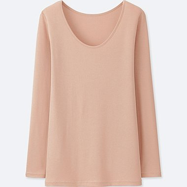 WOMEN HEATTECH RIBBED SCOOP NECK LONG SLEEVE T-SHIRT