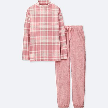 WOMEN LONG-SLEEVE CHECKED FLEECE SET, PINK, medium