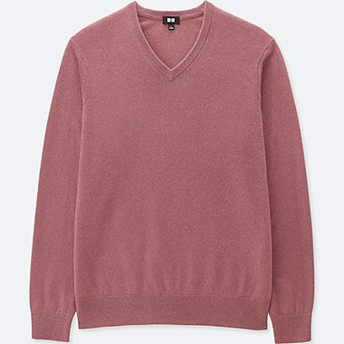 MEN CASHMERE V-NECK SWEATER, PINK, medium