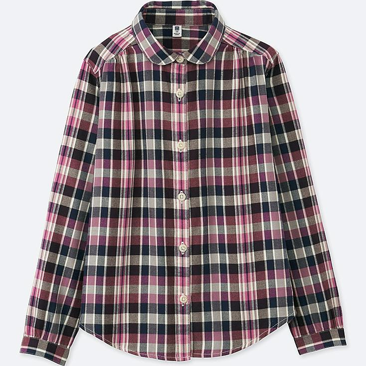GIRLS FLANNEL LONG-SLEEVE SHIRT, PINK, large