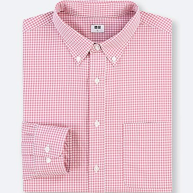 MEN EXTRA FINE COTTON CHECKED LONG-SLEEVE SHIRT, PINK, medium