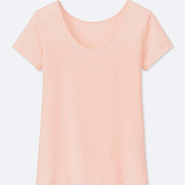WOMEN AIRism SCOOP NECK SHORT-SLEEVE T-SHIRT, PINK, medium