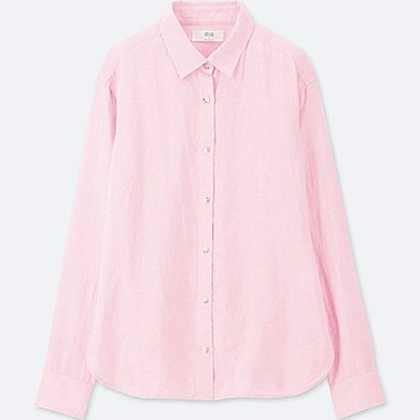 WOMEN PREMIUM LINEN LONG-SLEEVE SHIRT, PINK, medium