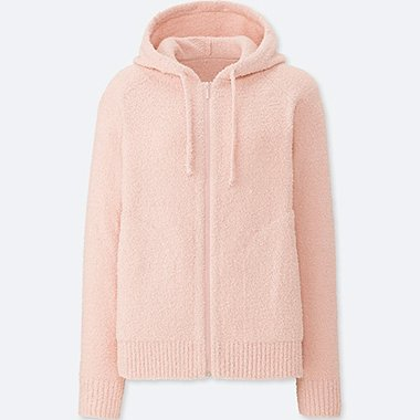 WOMEN FLUFFY YARN LOUNGE LONG SLEEVE HOODIE, PINK, medium