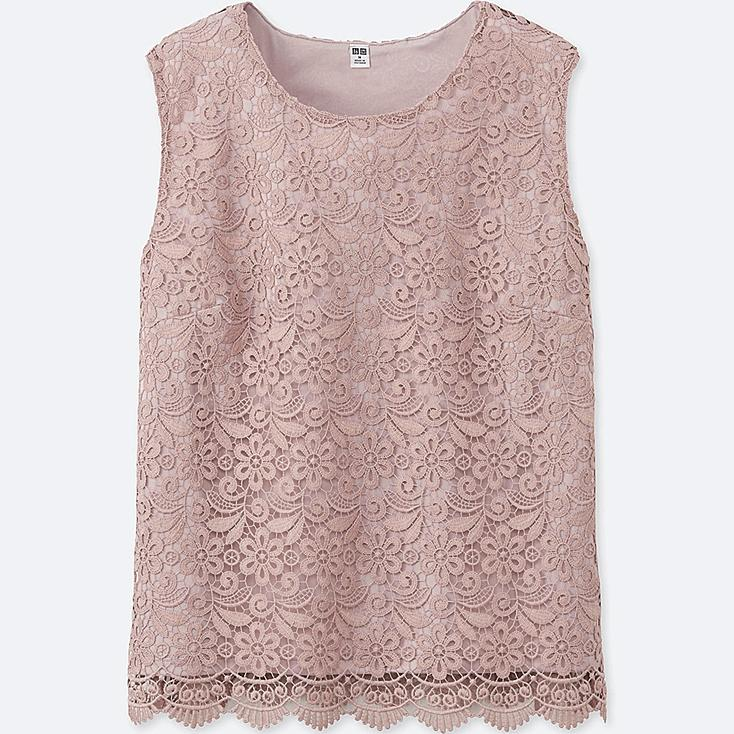 WOMEN LACE SLEEVELESS T-SHIRT, PINK, large