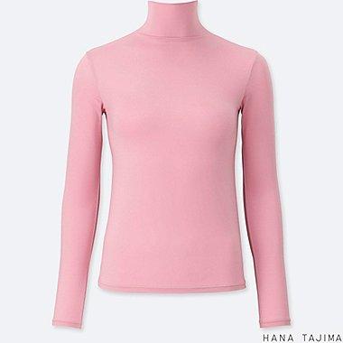 WOMEN AIRism HIGH-NECK LONG-SLEEVE T-SHIRT, PINK, medium