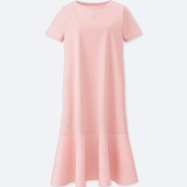 WOMEN MERCERIZED COMBINATION SHORT-SLEEVE DRESS, PINK, medium