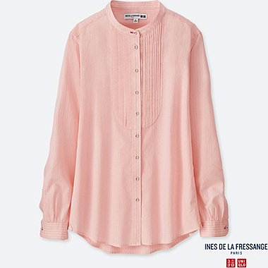 WOMEN INES 100% COTTON DOBBY PLEATED LONG SLEEVE SHIRT
