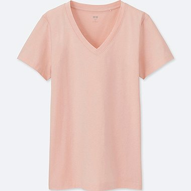 WOMEN SUPIMA® COTTON JERSEY V-NECK SHORT-SLEEVE T-SHIRT, PINK, medium