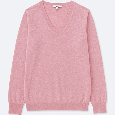 WOMEN CASHMERE V NECK JUMPER