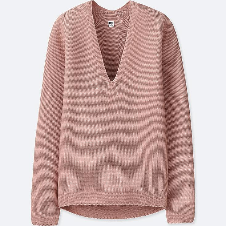 WOMEN 3D COTTON COCOON SWEATER, PINK, large
