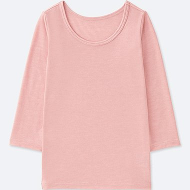 TODDLER HEATTECH U-NECK LONG-SLEEVE T-SHIRT, PINK, medium
