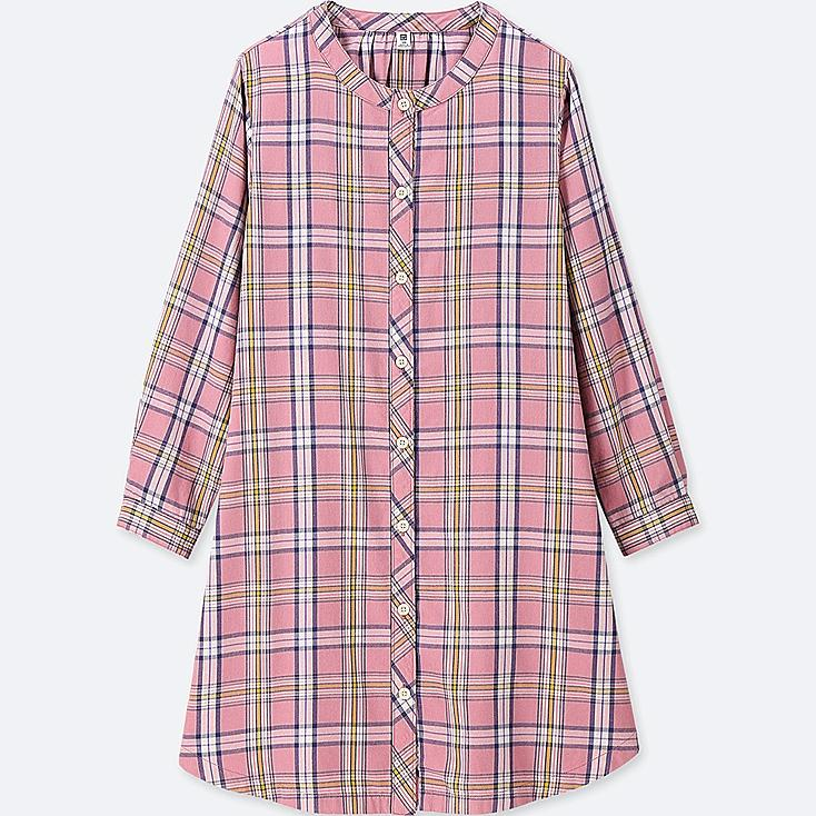 GIRLS FLANNEL CHECKED LONG-SLEEVE DRESS, PINK, large