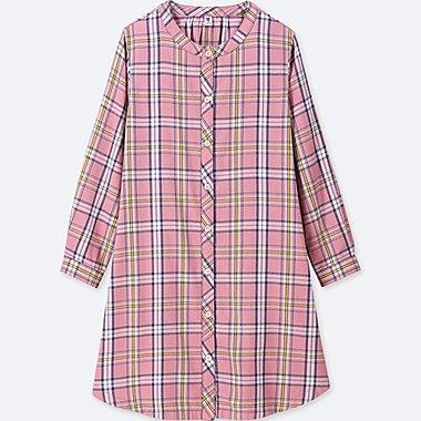 GIRLS FLANNEL CHECKED LONG-SLEEVE DRESS, PINK, medium