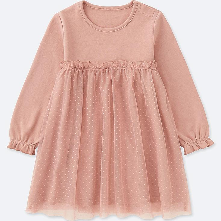 TODDLER LONG-SLEEVE TULLE DRESS, PINK, large