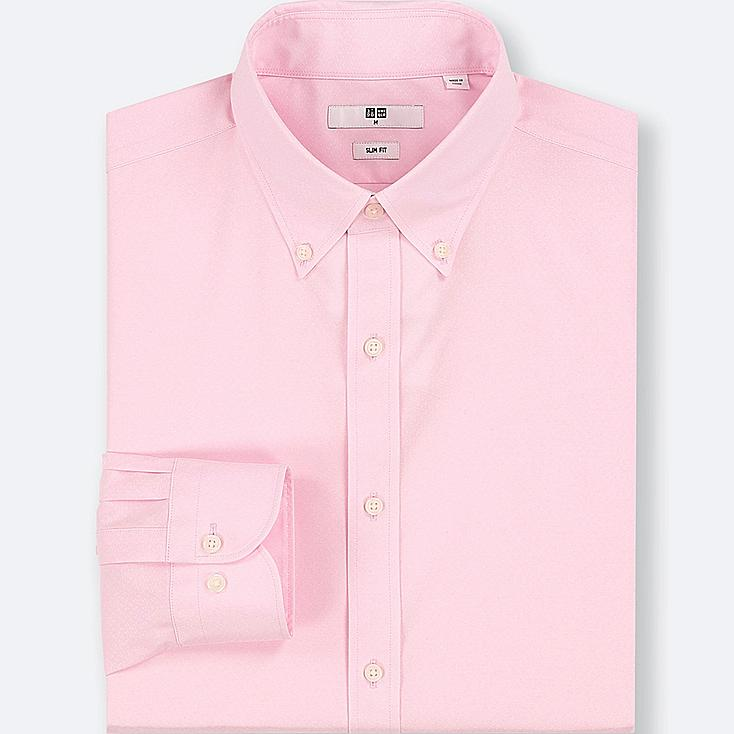 MEN EASY CARE DOBBY SLIM-FIT LONG-SLEEVE SHIRT, PINK, large