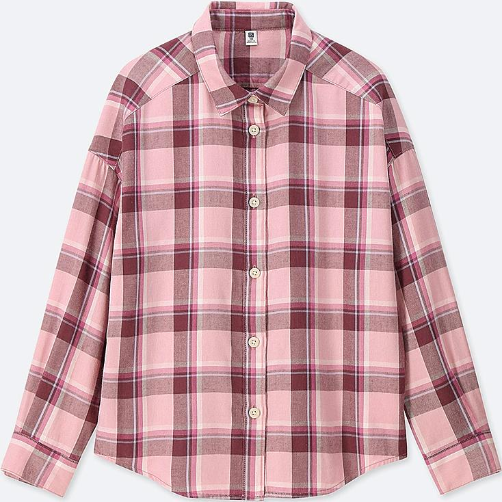 GIRLS FLANNEL CHECKED LONG-SLEEVE SHIRT, PINK, large