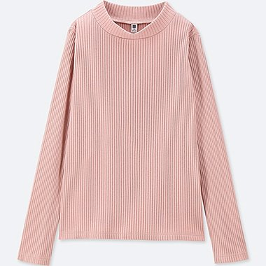 GIRLS RIBBED HIGH-NECK LONG-SLEEVE T-SHIRT, PINK, medium