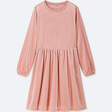 GIRLS VELOUR LONG SLEEVE DRESS