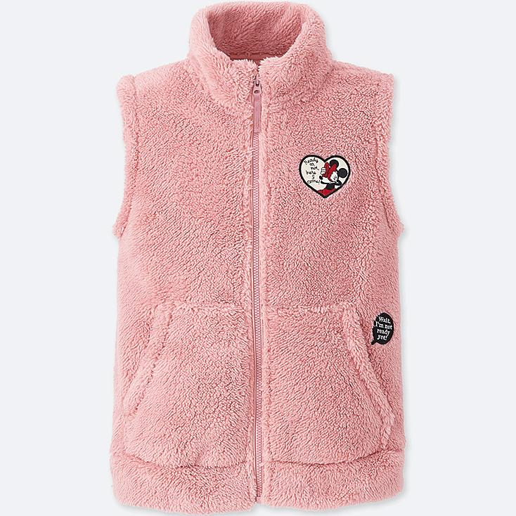 KIDS DISNEY FLUFFY YARN FLEECE VEST, PINK, large