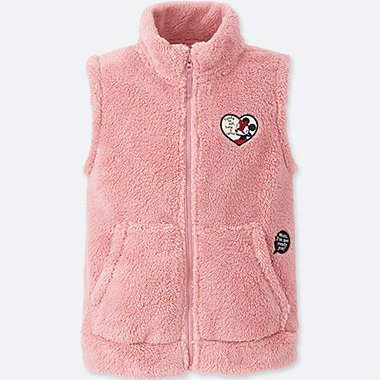 KIDS DISNEY FLUFFY YARN FLEECE VEST, PINK, medium