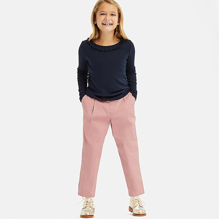 GIRLS ULTRA STRETCH RELAXED FIT ANKLE PANTS, PINK, large